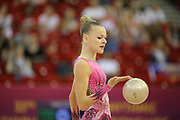 Kat Wyers, Belgium, during day one of the 33rd European Rythmic Gymnastics at Papp Laszlo Budapest Sports Arena, Budapest, Hungary on 19 May 2017. Photo by Myriam Cawston.