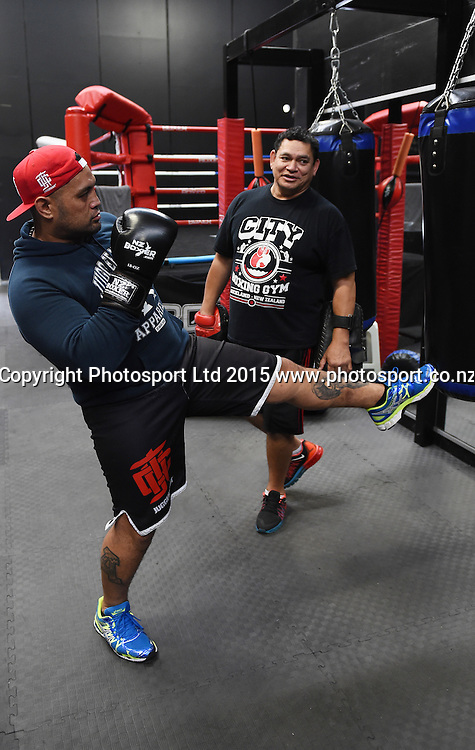 New Zealand UFC heavyweight fighter and mixed martial artist Mark Hunt during a media and training session at Sky TV ahead of his fight in Adelaide next month against Stipe Miocic. Thursday 23 April 2015. Copyright photo: Andrew Cornaga / www.Photosort.co.nz