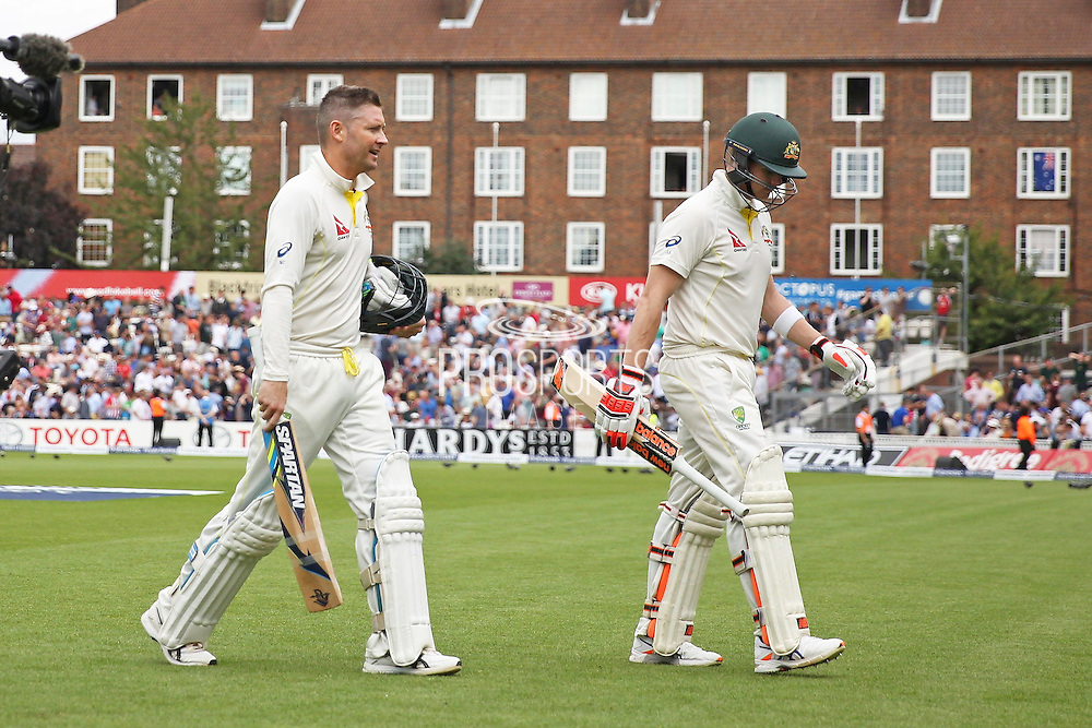 Michael Clarke captain of Australia and Steven Smith of Australia leave the pitch during the 1st day of the 5th Investec Ashes Test match between England and Australia at The Oval, London, United Kingdom on 20 August 2015. Photo by Phil Duncan.
