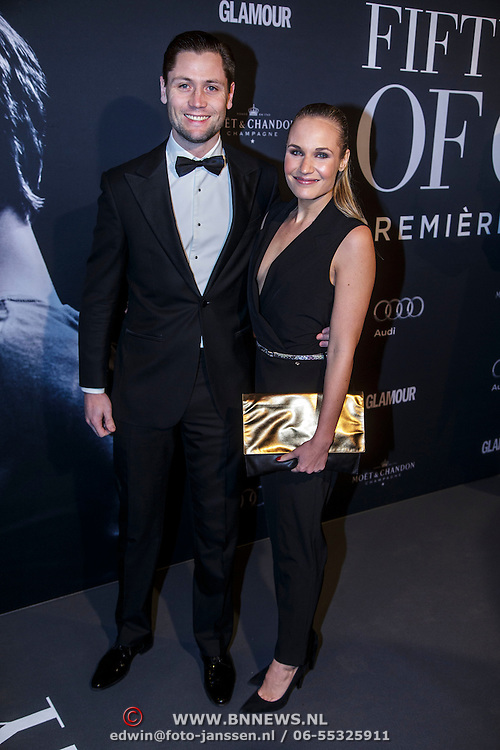 NLD/Amsterdam/20150211 - Premiere Fifty Shades of Grey, Bas Schothorst en partner Kimberly Klaver