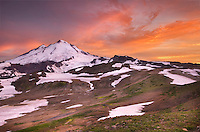 Alpenglow over Mount Baker, 10,781 ft (3,286 m), Mount Baker Wilderness Washington