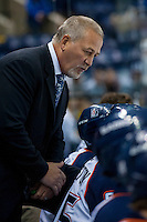 KELOWNA, CANADA - AUGUST 30: Mark Ferner, Associate coach of the Kamloops Blazers speaks to players on the bench against the Kelowna Rockets on August 30, 2014 during pre-season at Prospera Place in Kelowna, British Columbia, Canada.   (Photo by Marissa Baecker/Shoot the Breeze)  *** Local Caption *** Mark Ferner;