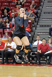 17 October 2015:  Courtney Pence(3) jumps with excitement after the Redbirds score a point during an NCAA women's volleyball match between the Southern Illinois Salukis and the Illinois State Redbirds at Redbird Arena in Normal IL (Photo by Alan Look)