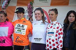 The stage winner and the jersey wearers line on the podium after Stage 3 of the Setmana Ciclista Valenciana - a 137 km road race, between Sagunt and Valencia on February 24, 2018, in Valencia, Spain. (Photo by Balint Hamvas/Velofocus.com)