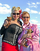 A young woman and an older woman dressed in 50's style holding Chihuahua dogs, Viva Las Vegas Festival, Las Vegas, USA 2006.