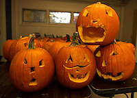 Pumpkins are carved and ready at the Boys and Girls Club for Saturday's Pumpkin Fest.<br /> (Karen Bobotas/for the Laconia Daily Sun)
