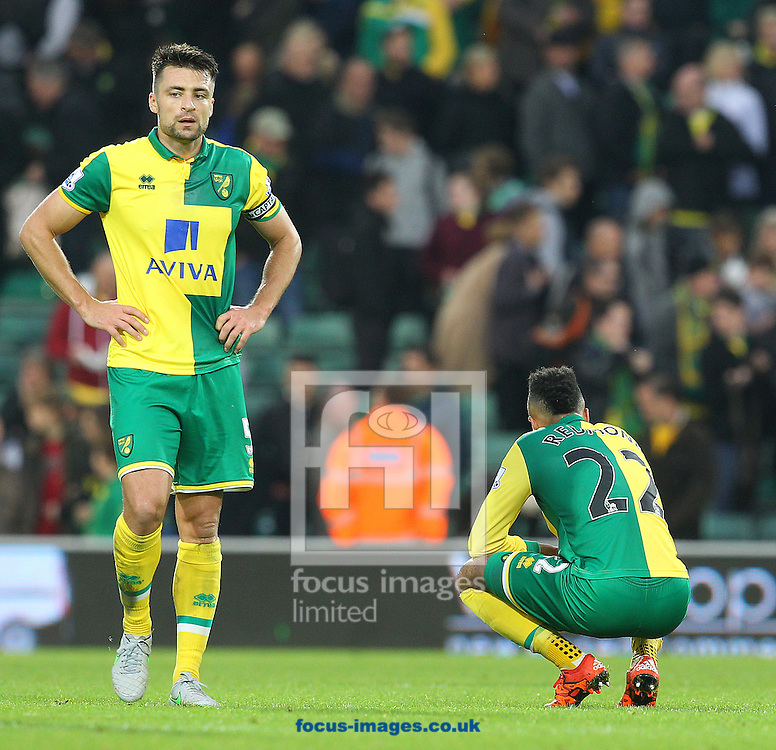 Russell Martin of Norwich and Nathan Redmond of Norwich look dejected at the end of the Barclays Premier League match at Carrow Road, Norwich<br /> Picture by Paul Chesterton/Focus Images Ltd +44 7904 640267<br /> 24/10/2015