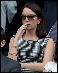 Image ©Licensed to i-Images Picture Agency. 02/07/2014. London, United Kingdom. Rebecca Deacon, Duchess of Cambridge assistant Private Secretary joins The Duke and Duchess of Cambridge watching  the Quarter Finals on centre court in the Royal box at  Wimbledon. Picture by Andrew Parsons / i-Images