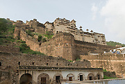 India, Rajasthan, Bundi. exterior view of the Bundi fort and Palace built in 1354