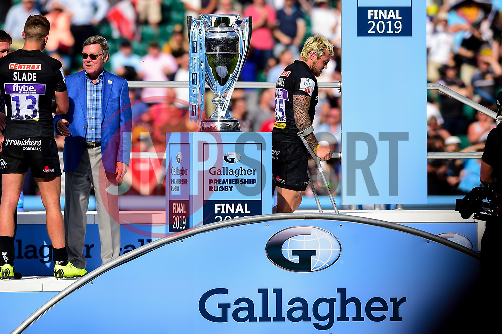 Jack Nowell of Exeter Chiefs walks on crutches past the Gallagher Premiership Rugby Trophy after the final whistle of the match - Mandatory by-line: Ryan Hiscott/JMP - 01/06/2019 - RUGBY - Twickenham Stadium - London, England - Exeter Chiefs v Saracens - Gallagher Premiership Rugby Final