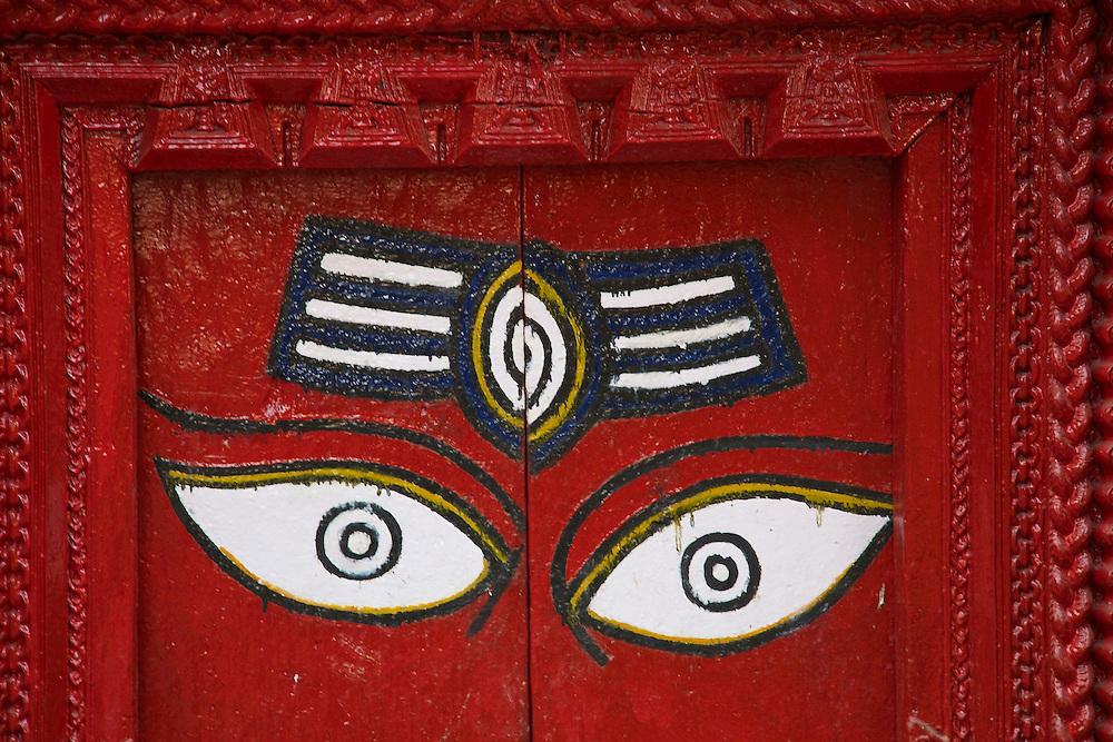 Detail from a Hindu temple at Durbar Square, Kathmandu, Nepal.