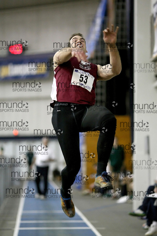 Windsor, Ontario ---12/03/09--- Geoff Hutten of  McMaster University competes in the Men's Pentathlon Long Jump at the CIS track and field championships in Windsor, Ontario, March 12, 2009..Sean Burges Mundo Sport Images