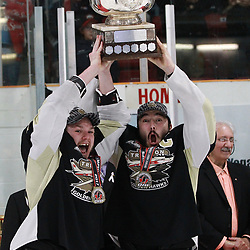 TRENTON, ON  - MAY 6,  2017: Canadian Junior Hockey League, Central Canadian Jr. &quot;A&quot; Championship. The Dudley Hewitt Cup. Championship game between Trenton Golden Hawks and the Georgetown Raiders. The hoisting of the Dudley Hewitt Cup.<br /> (Photo by Tim Bates / OJHL Images)