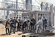 The Atlantic Telegraph: On deck of SS 'Great Eastern' searching cable for  a fault after its recovery from the bottom of the Atlantic 31 July 1865. From WH Russell 'The Atlantic Telegraph' London 1866. Tinted lithograph.