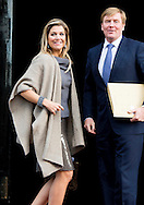10-12-2014 AMSTERDAM -   King Willem Alexander and queen Maxima Arrive at the Dam palace in Amsterdam for the Prince Claus prize 2014 COPYRIGHT ROBIN UTRECHT