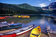 Rental boats at Cameron Lake in Waterton Lakes National Park in Alberta Canada