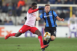 February 14, 2019 - Brugge, BELGIUM - Salzburg's Diadie Samassekou and Club's Mats Rits fight for the ball during a soccer game between Belgian team Club Brugge KV and Austrian club FC Red Bull Salzburg, the first leg of the 1/16 finals (round of 32) in the Europa League competition, Thursday 14 February 2019 in Brugge. BELGA PHOTO BRUNO FAHY (Credit Image: © Bruno Fahy/Belga via ZUMA Press)