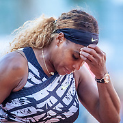 PARIS, FRANCE June 01. Serena Williams of the United States during her loss against Sofia Kenin of the United States during the Women's Singles third round match on Court Philippe-Chatrier at the 2019 French Open Tennis Tournament at Roland Garros on June 1st 2019 in Paris, France. (Photo by Tim Clayton/Corbis via Getty Images)