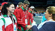 Katowice, Poland - 2017 September 03: (R) Joanna Styczen - Lasocka (National General Director of Special Olympics Poland) with SO Belarus while Awarding Ceremony during European Unified Volleyball Tournament 2017 at Spodek Hall on September 03, 2017 in Katowice, Poland.<br /> <br /> Adam Nurkiewicz declares that he has no rights to the image of people at the photographs of his authorship.<br /> <br /> Picture also available in RAW (NEF) or TIFF format on special request.<br /> <br /> Any editorial, commercial or promotional use requires written permission from the author of image.<br /> <br /> Image can be used in the press when the method of use and the signature does not hurt people on the picture.<br /> <br /> Mandatory credit:<br /> Photo by © Adam Nurkiewicz / Mediasport