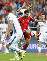 Spain's Cesc Fabregas (c) and Slovakia's Jan Gregus (l) and Norbert Gyomber during 15th UEFA European Championship Qualifying Round match. September 5,2015.(ALTERPHOTOS/Acero)