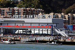 People watching boat races at the Port of San Francisco, San Francisco Bay, San Francisco, California, United States of America