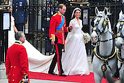 Prince William and Princess Catherine leave Westminster Abbey following their wedding ceremony in London on April 29, 2011. The former Kate Middleton married Prince William in front of 1,900 guests.  UPI/Kevin Dietsch