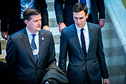 Rob Porter and Jared Kushner on their way to listen to Donald Trump's speech during the last day of the World Economic Forum - WEF. Rob Porter was formerly White House's Staff Secretary until he was fired due to domestic abuse allegations.