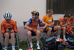 Team Netherlands riders prepare for Stage 2 of the Lotto Thuringen Ladies Tour - a 102.9 km road race, starting and finishing in Dortendorf on July 14, 2017, in Thuringen, Germany. (Photo by Balint Hamvas/Velofocus.com)