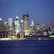 New York City skyline at dusk.