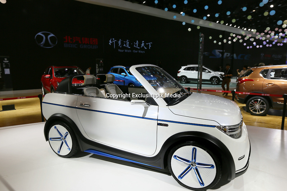 BEIJING, CHINA - APRIL 25: (CHINA OUT) <br /> <br /> A BAIC Motor Arcfox-1 concept electric vehicle is on display at the Beijing International Automotive Exhibition on April 25, 2016 in Beijing, China.<br /> ©Exclusivepix Media