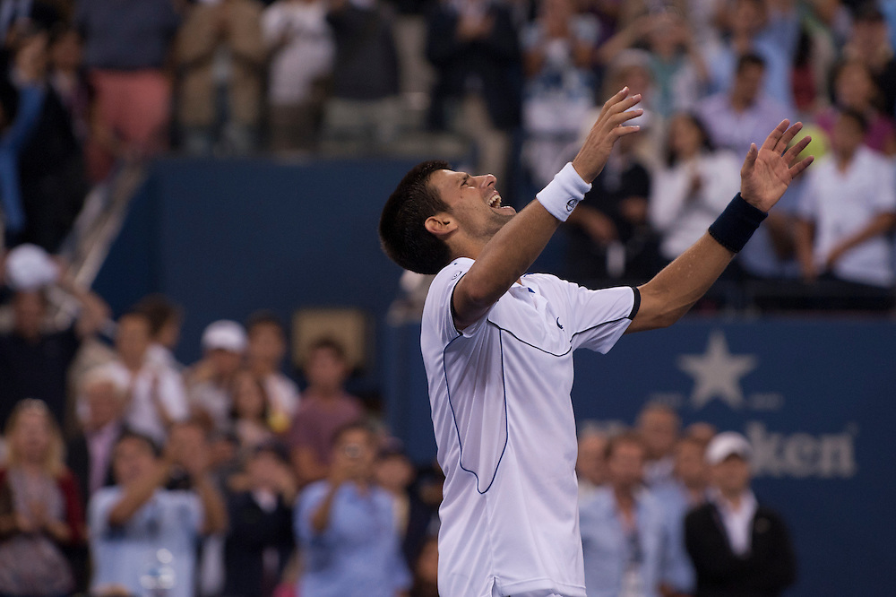 NEW YORK, NY - SEPTEMBER 12: Novak Djokovic of Serbia reacts after he won match point against Rafael Nadal of Spain during the Men's Final on Day Fifteen of the 2011 US Open at the USTA Billie Jean King National Tennis Center on September 12, 2011 in the Flushing neighborhood of the Queens borough of New York City. (Photo by Rob Tringali) *** Local Caption *** Novak Djokovic