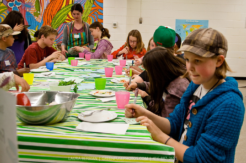 College Francais students participates in a food tasting focus group at FoodShare's Field to Table Schools, Toronto, Canada.