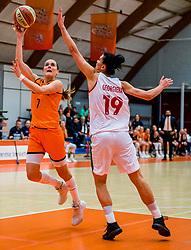 21-11-2018 NED: Netherlands - Bulgaria, Amsterdam<br /> Qualify FIBA Women's EuroBasket 2019 at Sporthallen Zuid Amsterdam / Group Phase Group F, Final Score 89-68 / Tanya Broring #7 of Netherlands, Dimana Georgieva #19 of Bulgaria
