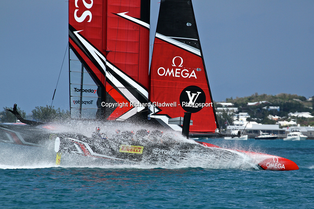 Race 10 - Emirates Team NZ's cyclors  take a dip as they chase Land Rover BAR in Race 10 - 35th America's Cup - Bermuda  May 28, 2017 . Copyright Image: Richard Gladwell / Sail World / www.photosport.nz