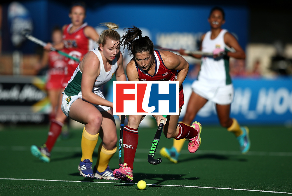 JOHANNESBURG, SOUTH AFRICA - JULY 16:  Michelle Vittese of United States of America battles with Nicole Walraven of South Africa during day 5 of the FIH Hockey World League Women's Semi Finals Pool B match between South Africa and United States of America at Wits University on July 16, 2017 in Johannesburg, South Africa.  (Photo by Jan Kruger/Getty Images for FIH)