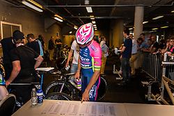 NIEMIEC Przemysiaw from Poland of Lampre - Merida (ITA) before the start at velodrome Omnisport, stage 1 (ITT) from Apeldoorn to Apeldoorn running 9,8 km of the 99th Giro d'Italia (UCI WorldTour), The Netherlands, 6 May 2016. Photo by Pim Nijland / PelotonPhotos.com | All photos usage must carry mandatory copyright credit ( Peloton Photos | Pim Nijland)