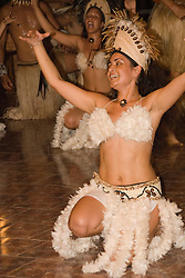 Chile, Easter Island:  The Kari Kari dance troupe dances at the Hotel Hanga Roa in Hanga Roa.  Easter Island and South Pacific dance styles..Photo #: ch331-33035..Photo copyright Lee Foster www.fostertravel.com lee@fostertravel.com 510-549-2202