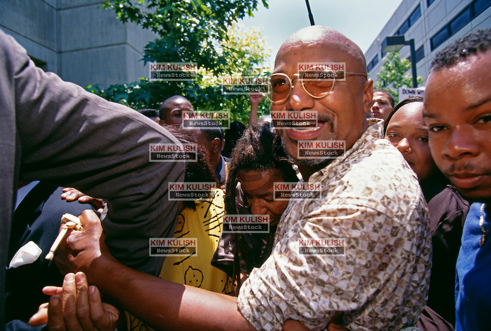 "Former Black Panther Elmer ""Geronimo"" Pratt  makes his way though joyous supporters as he is released from jail after his murder conviction for the December 1968 murder of Santa Monica schoolteacher Caroline Olsen was overturned after serving 27 years of a life sentence."