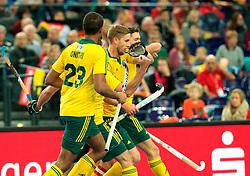 LEIZPIG - WC HOCKEY INDOOR 2015<br /> GER v AUS (Pool A)<br /> Foto: Australia scored a goal<br /> FFU PRESS AGENCY COPYRIGHT FRANK UIJLENBROEK