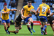 Bath lock Elliott Stooke (4) breaks the line during the Gallagher Premiership Rugby match between Wasps and Bath Rugby at the Ricoh Arena, Coventry, England on 2 November 2019.