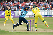 Natalie Sciver cuts during the Royal London Women's One Day International match between England Women Cricket and Australia at the Fischer County Ground, Grace Road, Leicester, United Kingdom on 2 July 2019.