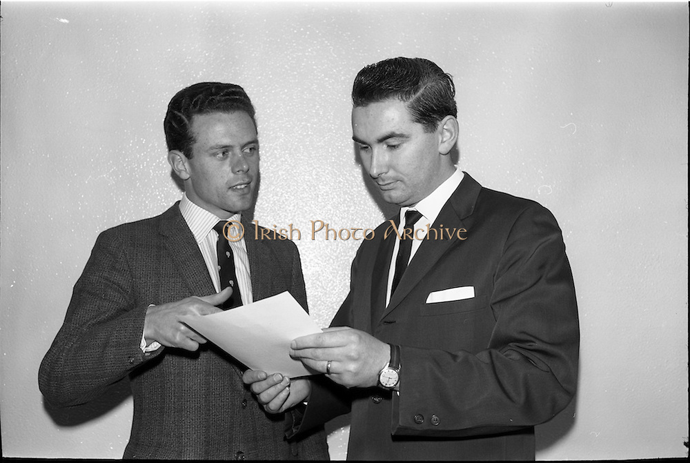 04/03/1964<br /> 03/04/1964<br /> 04 March 1964<br /> Smith Kline and French Laboratories personnel at Smith Kline and French Laboratories Ltd, Ashgrove, Dun Laoghaire Co. Dublin. Picture shows Mr. Brian George and Mr. Brian McMahon.