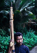A pro-independence civilian with homemade spear gun. <br />