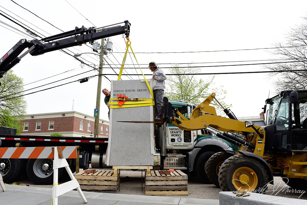 Taken on May 12, 2015, during final stages of construction of the African Burying Ground Memorial in Portsmouth NH, during delivery and instalation of the large granite standing stone to the site.