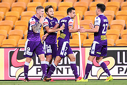 January 18, 2018 - Brisbane, QUEENSLAND, AUSTRALIA - Chris Harold of the Glory (#14, 2nd left) celebrates with team mates after scoring a goal during the round seventeen Hyundai A-League match between the Brisbane Roar and the Perth Glory at Suncorp Stadium on January 18, 2018 in Brisbane, Australia. (Credit Image: © Albert Perez via ZUMA Wire)