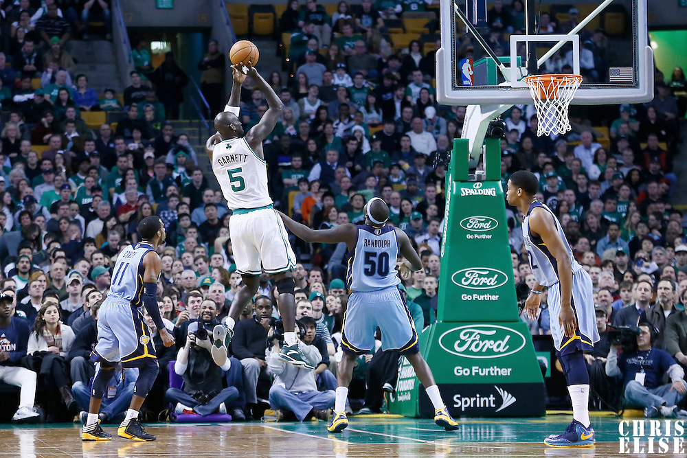 02 January 2013: Boston Celtics power forward Kevin Garnett (5) takes the jumpshot over Memphis Grizzlies power forward Zach Randolph (50) during the Memphis Grizzlies 93-83 victory over the Boston Celtics at the TD Garden, Boston, Massachusetts, USA.