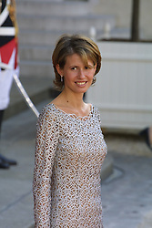 File photo - Syria's President's wife Asma al Assad leaves at Elysee Palace after a meeeting with French First lady Bernadette Chirac and French President Jacques Chirac receives Syria's President Bashar al Assad in Paris, France on September 12, 2000. Syria's British-born first lady Asma Assad has begun treatment for breast cancer. The Syrian presidency posted on its Facebook page a photo of President Bashar Assad sitting next to his wife in a hospital room. Photo by Mousse/ABACAPRESS.COM 302671_002