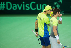 Blaz Rola and Aljaz Bedene of Slovenia  playing doubles during the Day 2 of Davis Cup 2018 Europe/Africa zone Group II between Slovenia and Poland, on February 4, 2018 in Arena Lukna, Maribor, Slovenia. Photo by Vid Ponikvar / Sportida