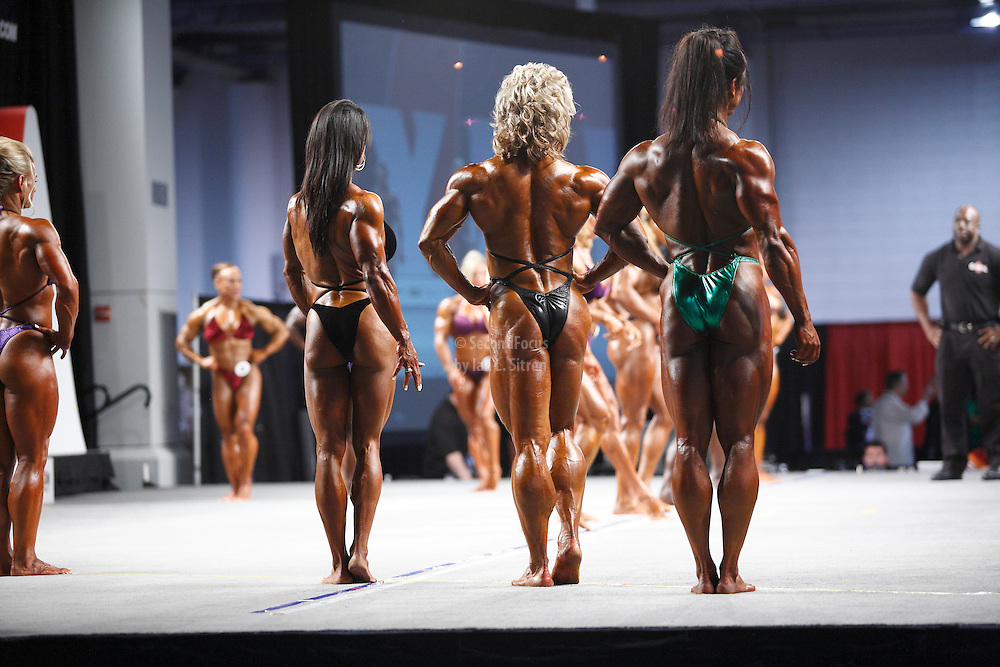 On stage at the pre-judging for the 2009 Olympia Women's Ms. Olympia bodybuilding competition in Las Vegas.