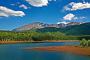 """Colorado High"" - View of Pikes Peak with Crystal Reservoir in foreground-Image has slight watercolor effect"